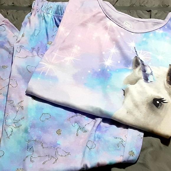 NWOT Girls Unicorn 2pc pajama pant set